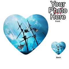 Underwater World With Shipwreck And Dolphin Multi Purpose Cards (heart)