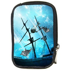 Underwater World With Shipwreck And Dolphin Compact Camera Cases by FantasyWorld7