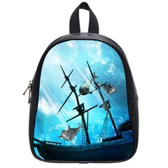Underwater World With Shipwreck And Dolphin School Bags (small)  by FantasyWorld7