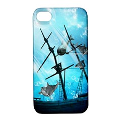 Underwater World With Shipwreck And Dolphin Apple Iphone 4/4s Hardshell Case With Stand by FantasyWorld7