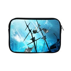 Underwater World With Shipwreck And Dolphin Apple Ipad Mini Zipper Cases