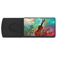 Violin With Violin Bow And Key Notes Usb Flash Drive Rectangular (4 Gb)  by FantasyWorld7
