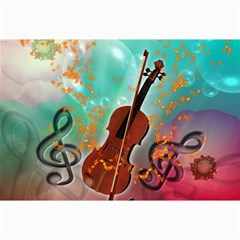 Violin With Violin Bow And Key Notes Collage 12  X 18  by FantasyWorld7