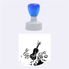 Violin With Violin Bow And Key Notes Rubber Round Stamps (medium) by FantasyWorld7