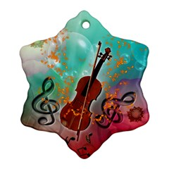 Violin With Violin Bow And Key Notes Snowflake Ornament (2 Side) by FantasyWorld7