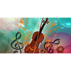 Violin With Violin Bow And Key Notes You Are Invited 3d Greeting Card (8x4)  by FantasyWorld7