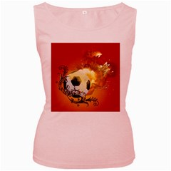 Soccer With Fire And Flame And Floral Elelements Women s Pink Tank Tops by FantasyWorld7
