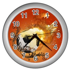 Soccer With Fire And Flame And Floral Elelements Wall Clocks (silver)  by FantasyWorld7