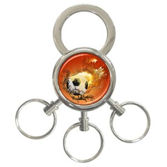 Soccer With Fire And Flame And Floral Elelements 3 Ring Key Chains by FantasyWorld7