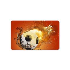Soccer With Fire And Flame And Floral Elelements Magnet (name Card) by FantasyWorld7