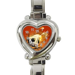 Soccer With Fire And Flame And Floral Elelements Heart Italian Charm Watch by FantasyWorld7