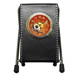 Soccer With Fire And Flame And Floral Elelements Pen Holder Desk Clocks by FantasyWorld7