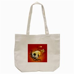 Soccer With Fire And Flame And Floral Elelements Tote Bag (cream)  by FantasyWorld7