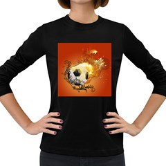 Soccer With Fire And Flame And Floral Elelements Women s Long Sleeve Dark T-shirts by FantasyWorld7
