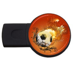 Soccer With Fire And Flame And Floral Elelements Usb Flash Drive Round (4 Gb)  by FantasyWorld7