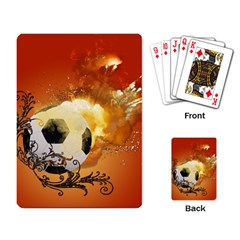 Soccer With Fire And Flame And Floral Elelements Playing Card by FantasyWorld7