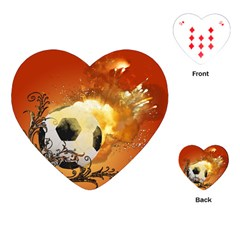 Soccer With Fire And Flame And Floral Elelements Playing Cards (heart)  by FantasyWorld7