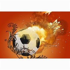 Soccer With Fire And Flame And Floral Elelements Collage 12  X 18  by FantasyWorld7