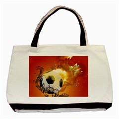 Soccer With Fire And Flame And Floral Elelements Basic Tote Bag  by FantasyWorld7