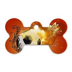 Soccer With Fire And Flame And Floral Elelements Dog Tag Bone (two Sides) by FantasyWorld7