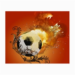 Soccer With Fire And Flame And Floral Elelements Small Glasses Cloth (2 Side) by FantasyWorld7