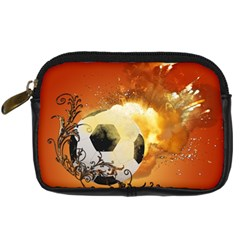 Soccer With Fire And Flame And Floral Elelements Digital Camera Cases by FantasyWorld7