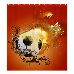 Soccer With Fire And Flame And Floral Elelements Shower Curtain 66  X 72  (large)  by FantasyWorld7