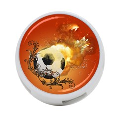 Soccer With Fire And Flame And Floral Elelements 4 Port Usb Hub (one Side) by FantasyWorld7