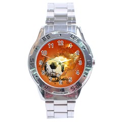 Soccer With Fire And Flame And Floral Elelements Stainless Steel Men s Watch by FantasyWorld7