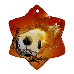 Soccer With Fire And Flame And Floral Elelements Snowflake Ornament (2 Side) by FantasyWorld7