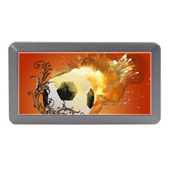 Soccer With Fire And Flame And Floral Elelements Memory Card Reader (mini) by FantasyWorld7