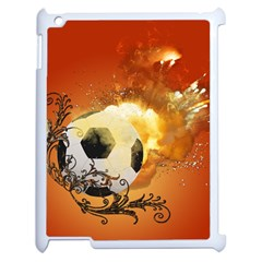 Soccer With Fire And Flame And Floral Elelements Apple Ipad 2 Case (white) by FantasyWorld7