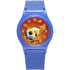 Soccer With Fire And Flame And Floral Elelements Round Plastic Sport Watch (s) by FantasyWorld7