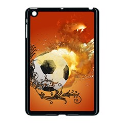 Soccer With Fire And Flame And Floral Elelements Apple Ipad Mini Case (black) by FantasyWorld7