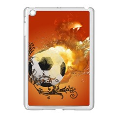 Soccer With Fire And Flame And Floral Elelements Apple Ipad Mini Case (white) by FantasyWorld7