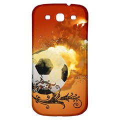 Soccer With Fire And Flame And Floral Elelements Samsung Galaxy S3 S Iii Classic Hardshell Back Case by FantasyWorld7