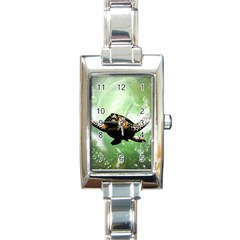 Beautiful Seaturtle With Bubbles Rectangle Italian Charm Watches