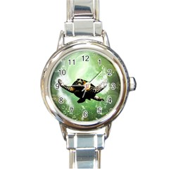 Beautiful Seaturtle With Bubbles Round Italian Charm Watches