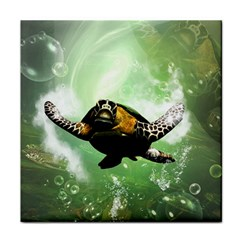Beautiful Seaturtle With Bubbles Tile Coasters