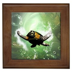 Beautiful Seaturtle With Bubbles Framed Tiles