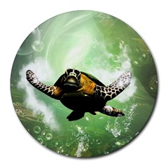 Beautiful Seaturtle With Bubbles Round Mousepads