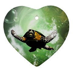 Beautiful Seaturtle With Bubbles Ornament (Heart)