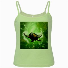 Beautiful Seaturtle With Bubbles Green Spaghetti Tanks