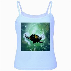 Beautiful Seaturtle With Bubbles Baby Blue Spaghetti Tanks