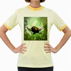 Beautiful Seaturtle With Bubbles Women s Fitted Ringer T-Shirts