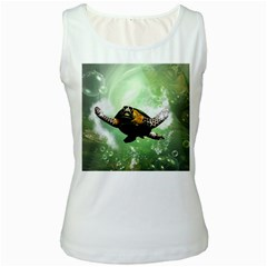 Beautiful Seaturtle With Bubbles Women s Tank Tops