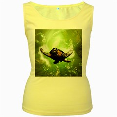 Beautiful Seaturtle With Bubbles Women s Yellow Tank Tops