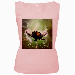 Beautiful Seaturtle With Bubbles Women s Pink Tank Tops