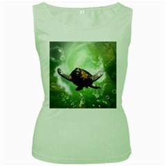 Beautiful Seaturtle With Bubbles Women s Green Tank Tops