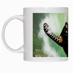 Beautiful Seaturtle With Bubbles White Mugs